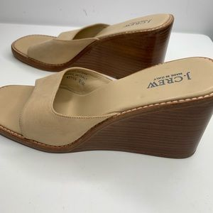 J Crew wedge sandals slide suede leather size 9.5